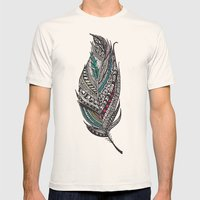 Single Aztec Feather  Mens Fitted Tee Natural SMALL