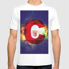 Colorado Flag/Galaxy Print SMALL White Mens Fitted Tee