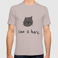 Love is Here (Grey Cat 2) Mens Fitted Tee Cinder SMALL