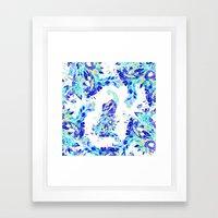 Bright blue turquoise gold elegant peacock hand drawn pattern Framed Art Print