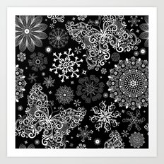 Butterfly & Floral Black and White Pattern Art Print