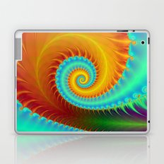 Toothed Spiral in Turquoise and Gold Laptop & iPad Skin