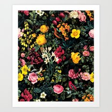 Floral and Birds Pattern Art Print
