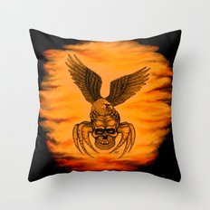Spider Skull and Eagle in Tattoo Style , Black Red Yellow design  Throw Pillow