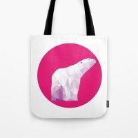 Magenta Polar Bear Tote Bag