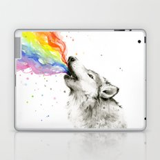 Wolf Rainbow Watercolor Howling Laptop & iPad Skin