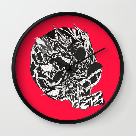 Skull Moustache Wall Clock