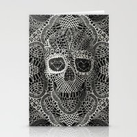 cow Stationery Cards featuring Lace Skull by Ali GULEC