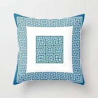 Greek Key Blue Throw Pillow