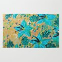 BLOOMING BEAUTIFUL - Modern Abstract Acrylic Tropical Floral Painting, Home Decor Gift for Her Rug
