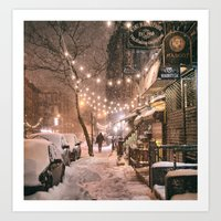 Snow - New York City - East Village Art Print