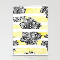 Modern black white henna paisley floral lace bright yellow Stationery Cards