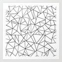 Abstract Outline Black on White Art Print