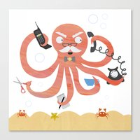 A busy Octopus works in an office Canvas Print