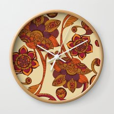 Boho Flowers Wall Clock