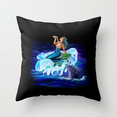 Mermaid with Dolphin Throw Pillow