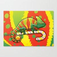 Christmas Chameleon Canvas Print