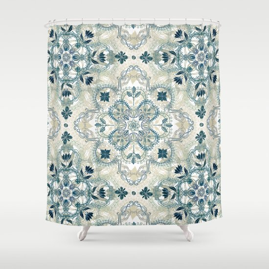 Forest green neutral taupe detailed lace doodle pattern - Forest green shower curtain ...