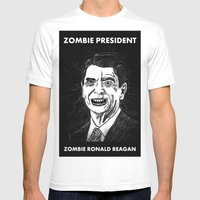 40. Zombie Ronald Reagan Mens Fitted Tee White SMALL