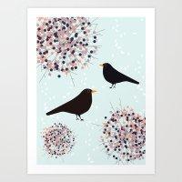 Hawthorn & Blackbird Art Print
