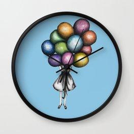 Wall Clock - Balloon Girl in Blue - ECMazur