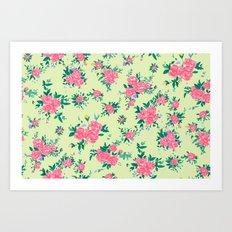 Shabby chic rose background Art Print