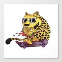 Skating Cheetah Canvas Print