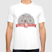 Born To Cycle Mens Fitted Tee White SMALL