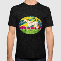 Patchwork Toile Unicorn Mens Fitted Tee Tri-Black SMALL
