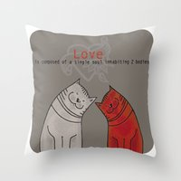 LOVE is a single soul in two bodies Throw Pillow
