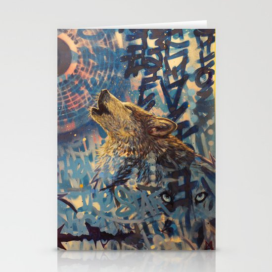 THE WOLF HOWLED AT THE STAR FILLED NIGHT Stationery Card