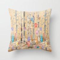 Monster forest Throw Pillow