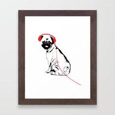 Pug Dog with earphones  Framed Art Print