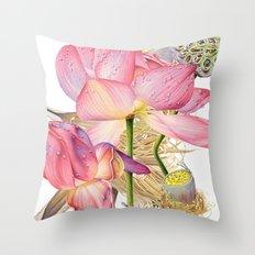 Sacred Lotus Botanical Throw Pillow