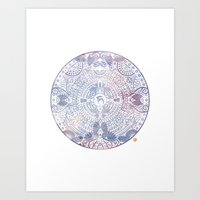 deer mandala (white) Art Print