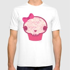 Cupcake Skull Mens Fitted Tee SMALL White