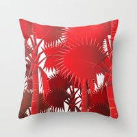 Red Palms. Throw Pillow