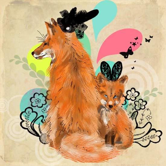 fancy foxes Art Print