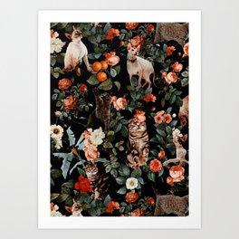 Art Print - Cat and Floral Pattern II - Burcu Korkmazyurek