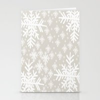 Grey Snowflake Design Stationery Cards