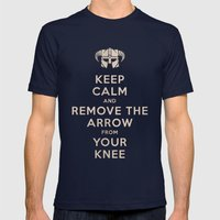 Keep Calm And Remove The Arrow From Your Knee Mens Fitted Tee Navy SMALL