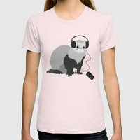 Music Loving Ferret Womens Fitted Tee Light Pink SMALL