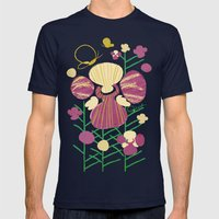 Floral Flower Artprint Mens Fitted Tee Navy SMALL