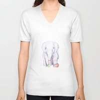 Striped Elephant Illustr… Unisex V-Neck