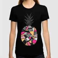 Pretty Pineapple Womens Fitted Tee Black SMALL