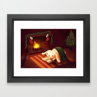 Chubby Bunny By The Fire… Framed Art Print