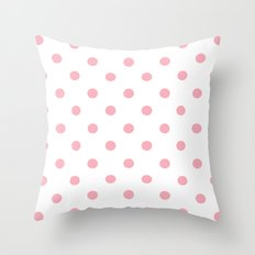 Polka Dots in Pink Throw Pillow