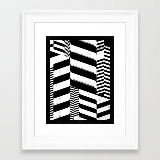 Black Interior & White Design Framed Art Print