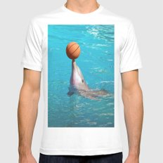 Dolphin and Ball Mens Fitted Tee SMALL White