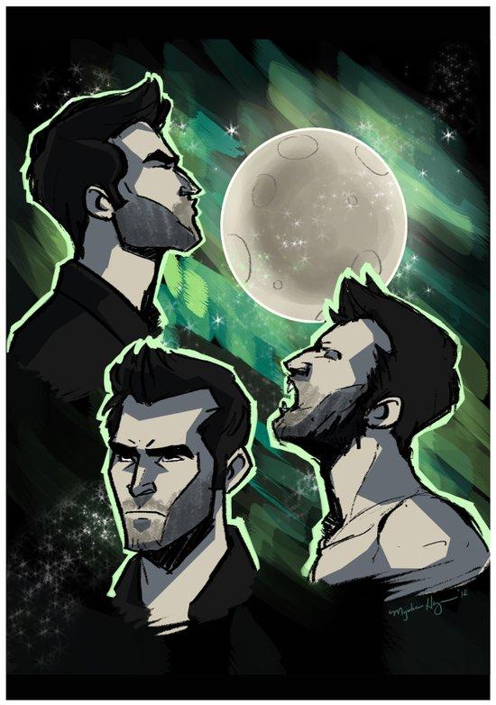 Three Derek Moon Art Print